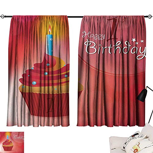 Jinguizi 1st Birthday Set of 2 Panels Abstract Background with Sunbeams and Party Cupcake Candlestick Image reducing Noise Darkening Curtains Orange and Red W55 x L39 by Jinguizi (Image #6)