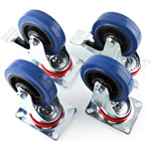 """MVPower 4 Pack 4"""" Swivel Caster Wheels Dust Cover Rubber Heavy Duty Castors with 360 Degree Top Plate(4 inch with brake,Blue)"""