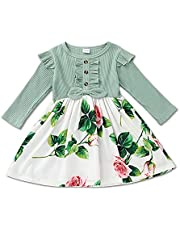 BemeyourBBs Babymeisje bloemenjurk lange mouwen geribbelde jurk ruche bloemenprint jurk één stuk casual rok herfst kinderen meisje jurk