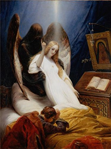 Oil Painting 'The Angel Of Death,1851 By Emile Jean-Horace Vernet' Printing On Perfect Effect Canvas , 18x24 Inch / 46x61 Cm ,the Best Laundry Room Artwork And Home Decor And (Angel Of Death Hanging Prop)