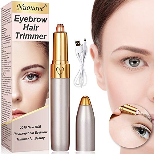 Eyebrow Hair Remover, Eyebrow Trimmer for Women, Eyebrow Hair Trimmer, With LED Light, USB Rechargeable Painless Portable Precision Electric Eyebrow Trimmer Removal Razor Tool for Women (Rose Gold)