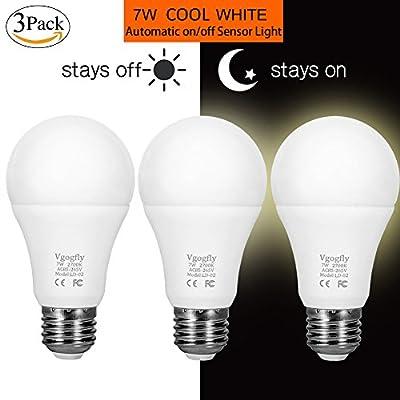 Sensor Lights Bulb Dusk to Dawn LED Light Bulbs Smart Lighting Lamp 7W E26/E27 Automatic On/Off, Indoor/Outdoor Yard Porch Patio Garage Garden