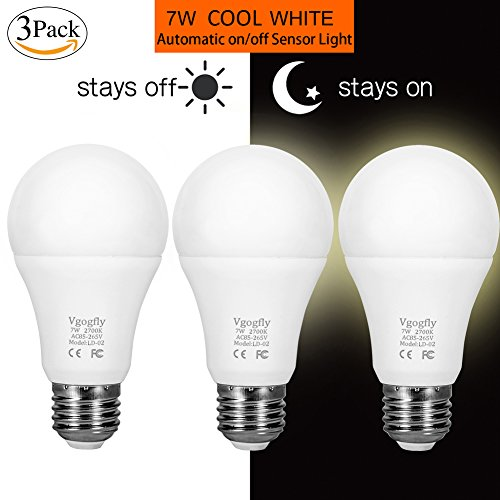 Dusk to Dawn Light Bulb 7W Smart Dusk till Dawn LED Photo Sensor Bulbs E26 Base socket Outdoor Indoor Lighting Lamp Auto On/Off (Cool White, 3-Pack) by Vgogfly