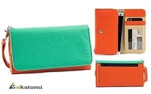 [Metro] ORANGE & GREEN | Universal Women's Wallet Wrist-let Clutch for ZTE Blade C V807 Phone Case. Bonus Ekatomi Screen Cleaner