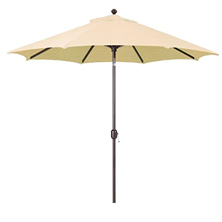 9-Foot Galtech Model 737 Deluxe Auto-Tilt Umbrella with Antique Bronze Frame and Sunbrella Fabric Antique Beige Includes Extended Frame Warrantee