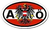 A Austria Ö and Austrian Flag Car Bumper Sticker Decal Oval