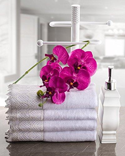 for Elegant Counter Top Bathroom//Shower//Kitchen Decor VHH-44349 Decorative Fingertip Towels Holder Creative Scents Vintage White Countertop Towel Stand Durable Resin Free Standing Rack