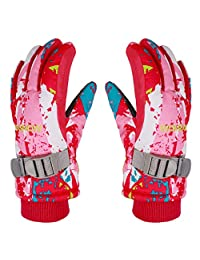 Boys Girls Winter Ski Gloves Waterproof Outdoor Sport Warm Windproof Anti-Slip