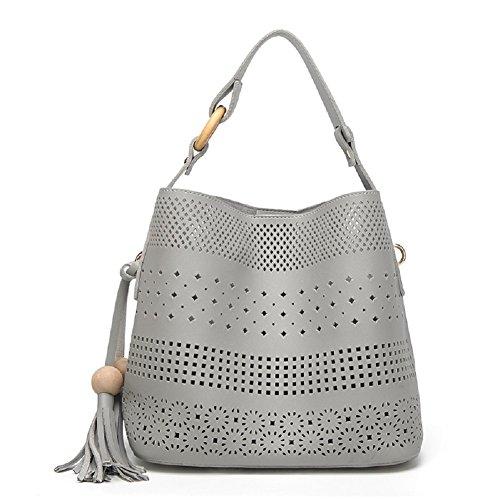 SYGoodBUY Bolso de cuero falso de la PU del bolso de cuero de las mujeres con el totalizador y la cartera de las franjas (Color : Rosado, tamaño : Un tamaño) Gris