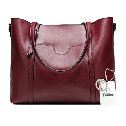 Yoome Real Leather Bags For Women Top Handle Briefcase Satchel Handbags Large Ladies Purse - Burgundy