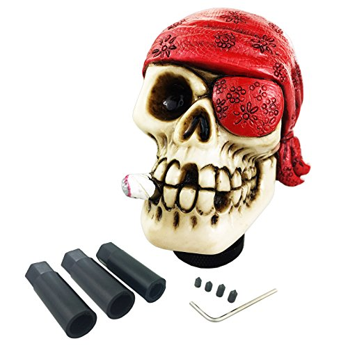 Arenbel Universal Manual and Automatic Car Gear Stick Shifter Knob One Eye Red Skull Shift Lever Fit Most Cars ()