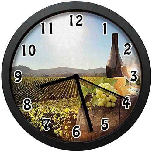kuangmaikuangmai-6 Vintage Wall Clock - White Wine with Barrel on Famous Vineyard in Chianti Tuscany Agriculture Unique Decorative Wall Clock Nice for Gift or Office Home 10in with Frame