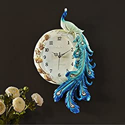 European Style Peacock Wall Clock Living Room Bedroom Creative Clock Art Decoration