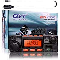 NKTECH QYT KT-8900 Dual Band 25W VHF 136-174MHz 20W UHF 400-480MHz Mini Car/Trunk Ham Mobile Transceiver Two Way Radio Walkie Talkie Black and USB Programming Cable