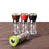 Salt and Pepper Grinder Set of 4,Small Salt and Pepper Shakers Mill for Cooking Spices(4pcs(Black+Red +Green+Brown))