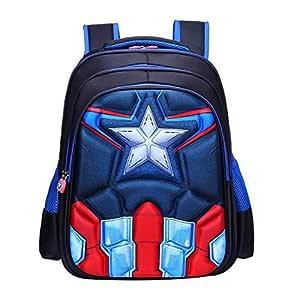 School Backpack waterproof 3D Backpack Comic School Bag Student Bookbag Captain America Muscle For Kids
