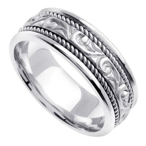 White Carved Wedding Ring for Women (7mm) Size 6
