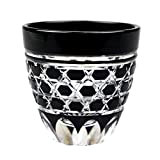 Guinomi Sake Cup Shot Glass Edo Kiriko Design Cut Glass Black - Rokkaku-Kagome Hexagon Pattern [Japanese Crafts Sakura]
