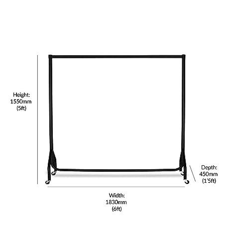 Displaysense Riel de Ropa Resistente - Varios tamaños y Colores (Negro, 6ft)