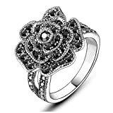 Mytys Retro Black Rose Flower Ring Marcasite Stones Paved Silver Plated