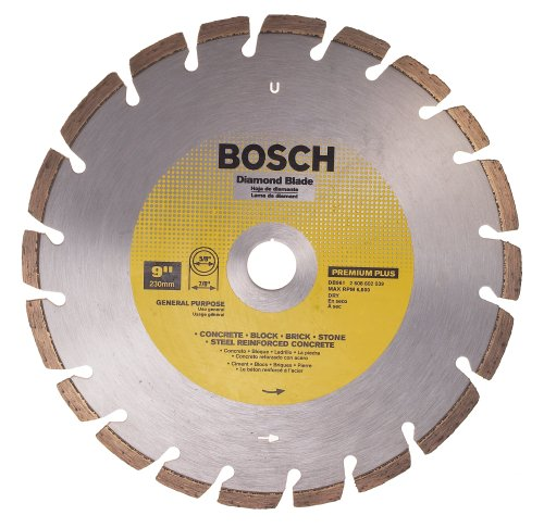 Bosch DB961 Premium Plus 9-Inch Dry Cutting Laser Fusion Segmented Diamond Saw Blade with 7/8-Inch Arbor for Reinforced Concrete (Blade Dry Diamond Plus)
