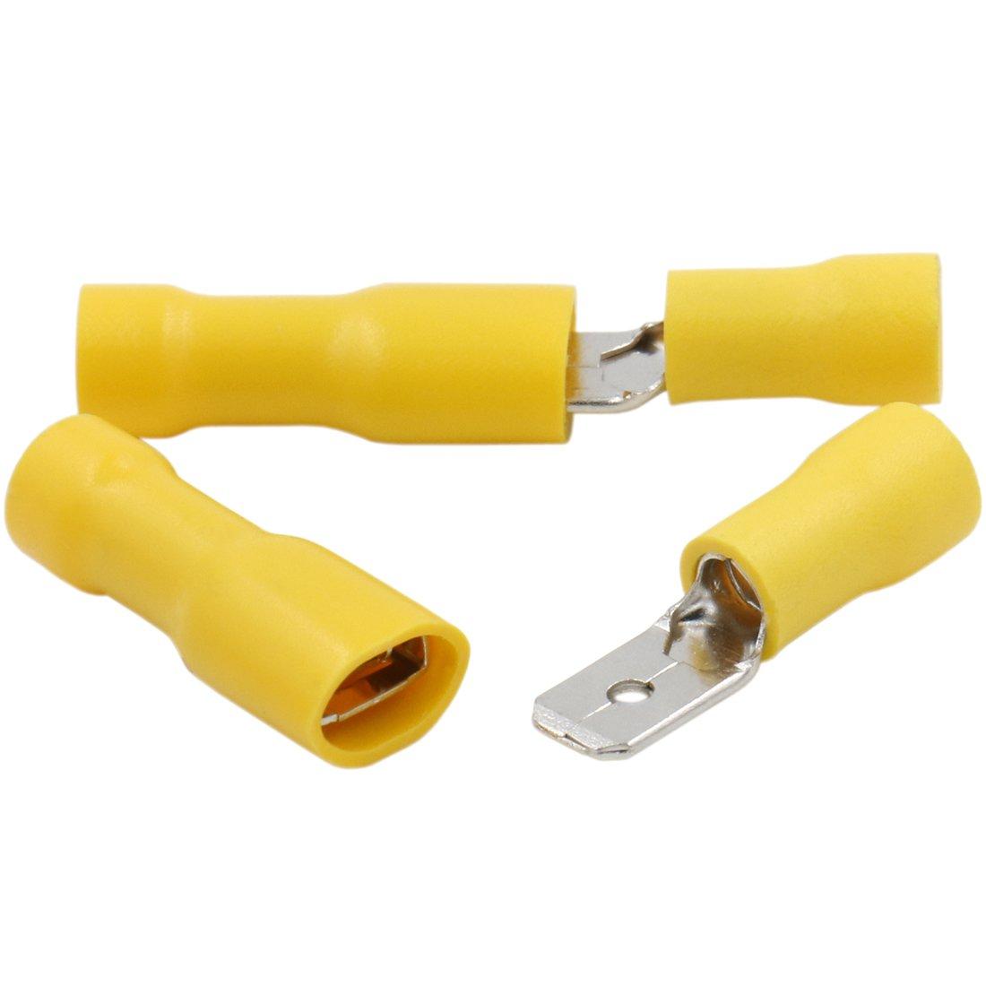 Heschen männlich/weiblich schnelle in Vinyl voll isoliert 6,3x 0,8mm-Terminal für 4–6mm² (100Stück 12–10AWG), Gelb Heschen Electric Co.Ltd