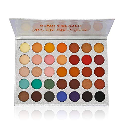 (Beauty Glazed Pigmented Matte and Shimmer 35 Colors Chunky Eyeshadow Palette Pop Colors Blendable Eye Shadow Powder Make Up Waterproof Eye Shadow Palette)