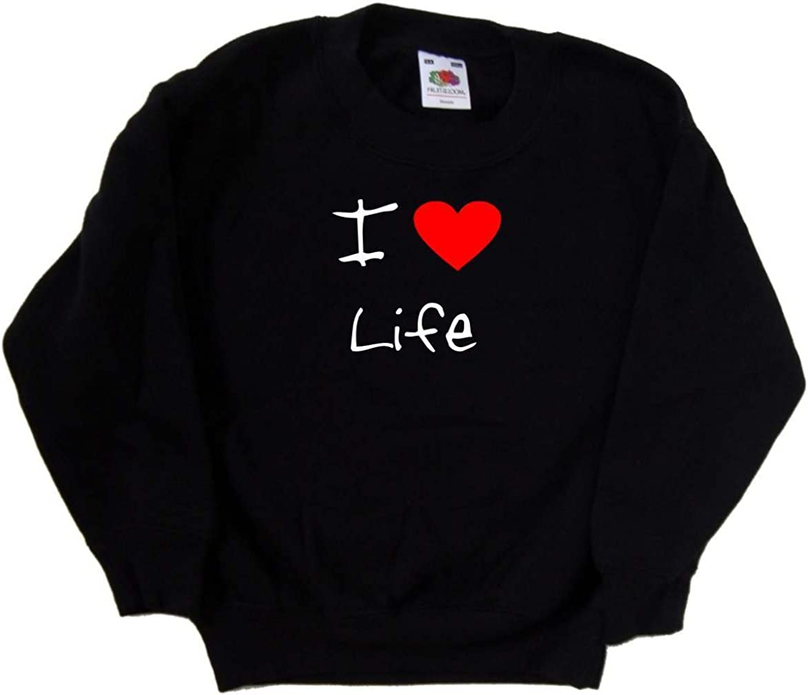 I Love Heart Life Black Kids Sweatshirt