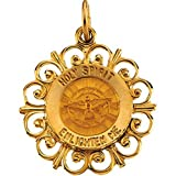 14k Yellow Gold Holy Spirit Medal Charm Pendant - 18.5mm