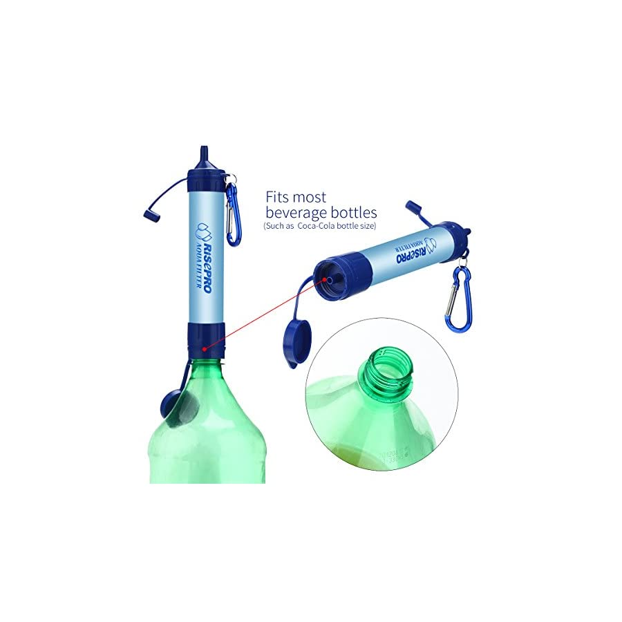 RISEPRO Emergency Water Filter, Portable Aqua Personal Filter Emergency Drinking Water Filtration Straw for Camping Hiking Backpacking Prepping removes 99.9% Bacteria Filter to 0.01 Microns HW 01