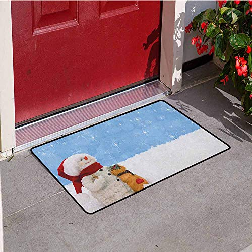 Gloria Johnson Snowman Welcome Door mat Winter Time Theme Cute Snowman with Christmas Hat Scarf and Present Happy Holiday Door mat is odorless and Durable W29.5 x L39.4 Inch ()