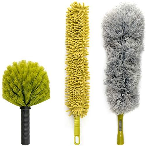 (DocaPole Dusting Kit for Extension Pole or by Hand | Cleaning Kit Includes 3 Dusting Attachments | Cobweb Duster | Microfiber Feather Duster | Flexible Chenille Ceiling Fan Duster)