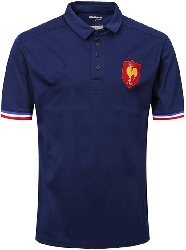 PAOFU-Polo de Camiseta de Francia Rugby Supporters,Aficionados Al Rugby Casual Sports Top,Azul,L