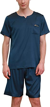 YAOMEI Pijamas para Hombre Satén Corto, 2019 Hombre Primavera Verano Camisones Pijamas de Parejas Ropa de Dormir, Camisa Delantera de Bolsillo de ...