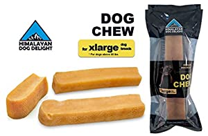 Healthy Dog Chew, 100% Natural, Pure Hardened Yak Cheese - 1 piece, Extra Large, Min Net Wt. 6.5 oz, For Dogs Above 60 lbs - Himalayan Dog Delight