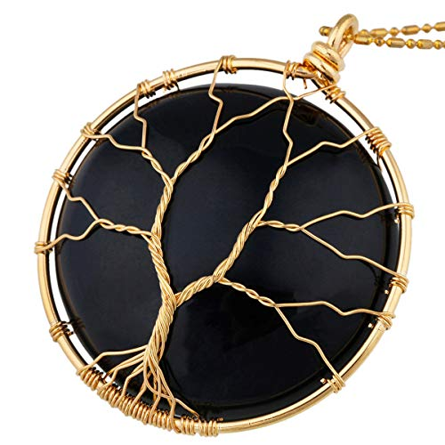 - Nupuyai Tree of Life Stone Pendant Necklace for Women Men, Wire Wrapped Healing Crystals Pendants with Chain