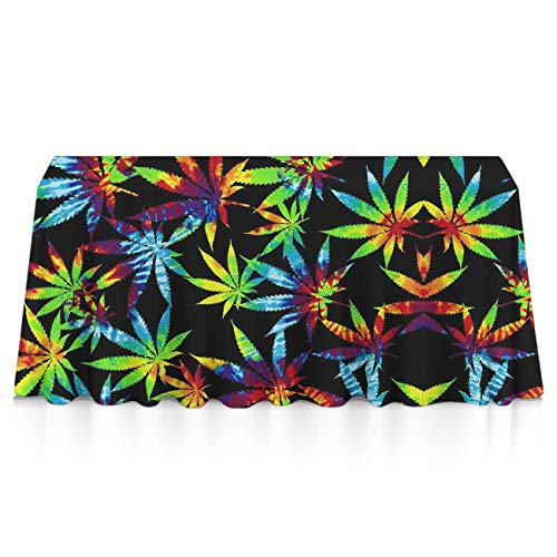 Stain Resistant Waterproof Rectangular Table Cloth - Tie Dye Weed Table Art, Square Or Round Tables Table Cloths for Outdoor Party Dinner Parties (Tie Dye Toothbrush)
