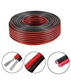 Wellite 25FT 14-2 AWG Gauge Electrical Wire, Low Voltage for Landscape Lighting System, Red&Black Parallel Wire