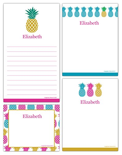 Pads Notepads Memo Personalized Printed - Personalized Pineapple Grocery List and Notepads Printed with Your Name or Text (4-Pack) Assorted Colors, Sizes