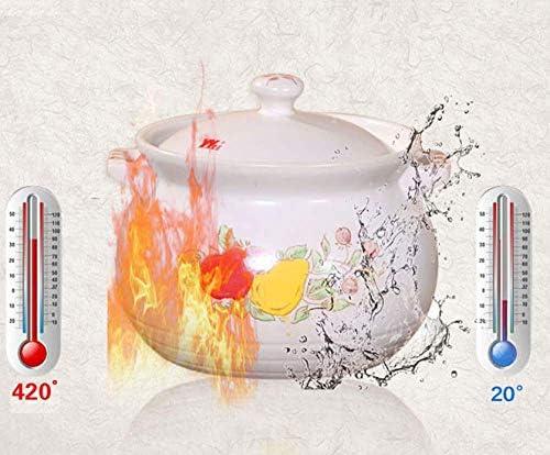 Yxxc Ceramic Casserole with Lid - Slow Cooker High Temperature Resistant Pots - Large Large Cookware Pot, 5.5L Soup Pot