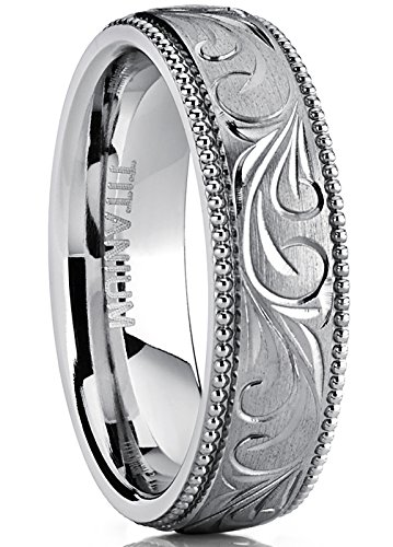 Hand Engraved Wedding Band - Men's Women's Hand Engraved Vintage Titanium Wedding Band, Unisex Milgrain Ring, Comfort Fit 6mm 11