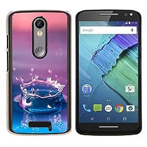 EJOOY---Cubierta de la caja de protección para la piel dura ** Motorola Moto X3 3rd Generation ** --Agua Gota Gradiente púrpura