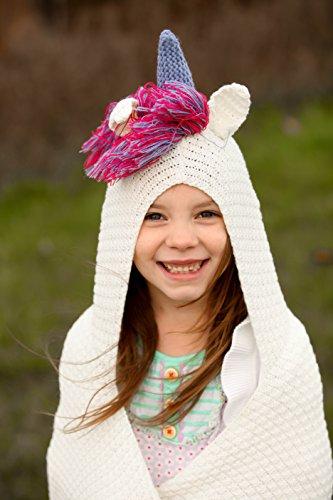 Born To Unicorn Blanket Hooded For Girls Kids Pink