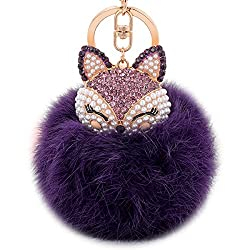 Purple Fur Ball Keychain with Fox Head Studded with Rhinestone