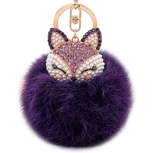 Boseen Genuine Rabbit Fur Ball Pom Pom Keychain with A fashion Alloy Fox Head Studded with Synthetic Diamonds(Rhinestone) for Womens Bag Cellphone Car Charm Pendant Decoration(Purple2)