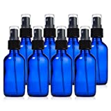 Papifleure Glass Spray Bottles - 8 Piece 2oz Cobalt Blue Small Glass Bottles Set with Fine Mist Sprayer By Reusable Dark Colored Potion Bottles For Travel and Any Purpose