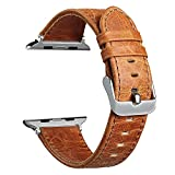 V-Moro Apple Watch Band 38mm Genuine Leather iWatch Strap Vintage Crazy Horse wristband for for Apple Watch Nike+, Series 3, Series 2, Series 1, Sport, Edition (Vintage Crazy Horse-Brown 38mm)