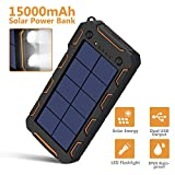 AMAES Solar Charger 15000mAh, Portable Phone Charger External Battery Pack with 1.5W High Efficiency Solar Panel, Dual USB Output Ports, Flashlight, Carabiner, IP65 Rainproof for Camping, Fishing