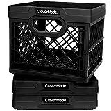 CleverMade Milk Crates, 25L Plastic Stackable