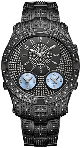 JBW Men's J6348D Jet Setter III 1.50 ctw Black Ion-Plated Stainless Steel Diamond Watch